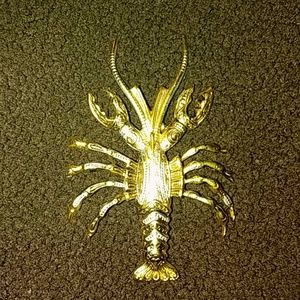 Vintage Mid Century Lobster Damascene Brooch